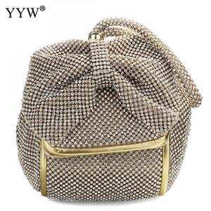 Image 1 - Fashion Pu Leather Clutch Bags Of Women Solid Casual Women Small Bag Silver Gold Rhinestone Party Evening Bag Bolsa Feminina