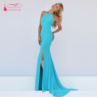 Turquoise Mermaid Prom Dress Elegant Charming Evening Dress Long Formal homecoming Dresses Sexy side Split Party Dress 2016 Z318