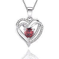 VOJEFEN Red Angel Necklaces for Women Embellished with Crystals from Swarovski Pendant Necklace Heart Jewelry