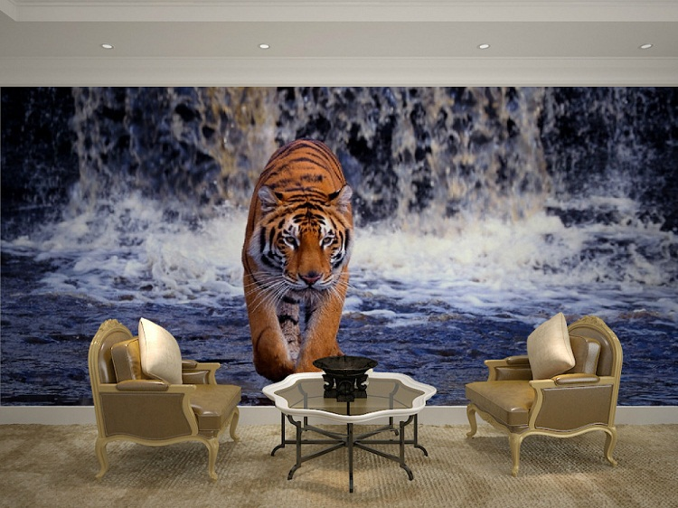 Large Animal 3d Wall Mural with Waterfall Tiger Papel Mural Wallpaper for Living Room 3d Photo Murals Wall paper Wallcoverings 8d papel wolf animal murals 3d animal wallpaper mural for living room background 3d wall photo murals wall paper 3d stickers
