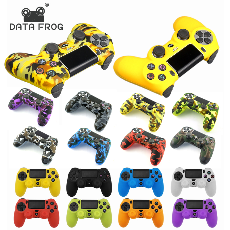 Data Frog Soft Silicone Gel Rubber Case Cover For SONY Playstation 4 PS4 Controller Protection Case For PS4 Pro Slim Gamepad(China)