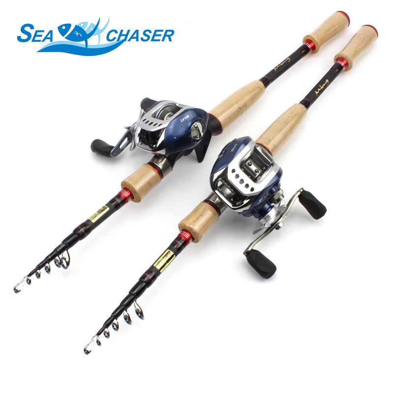 High Quality Telescopic carbon Casting Rod and Casting Reels wooden handle lure rod 2 1m 2