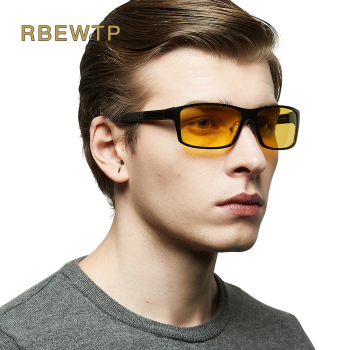 RBEWTP Night Vision Glasses Aluminum Magnesium Men's Sunglasses Polarized Square Mirror oculos Male Eyewear Accessories For Men