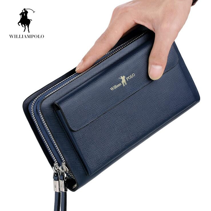 WILLIAMPOLO Clutch Bag Genuine Leather Men Wallet Card Holder New Multi card space Wallets For Men williampolo men s clutch wallet handy strap clutch bag genuine leather long wallet card holder 2018 fashion plaid purse for men