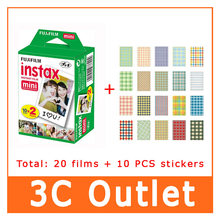 Original Fujifilm Fuji Instax Film 20 Sheets+10 Sheet Stickers , For Fuji 3 Inch Instant Camera mini 8 7s 70 25 50s 90(China)