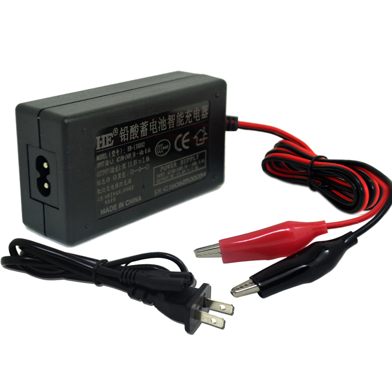 Universal <font><b>12v</b></font> motorcycle charger smart auto power supply rechargeable <font><b>lead</b></font> <font><b>acid</b></font> <font><b>battery</b></font> charger DC13.8V 2A For <font><b>7AH</b></font>-20AH <font><b>battery</b></font> image