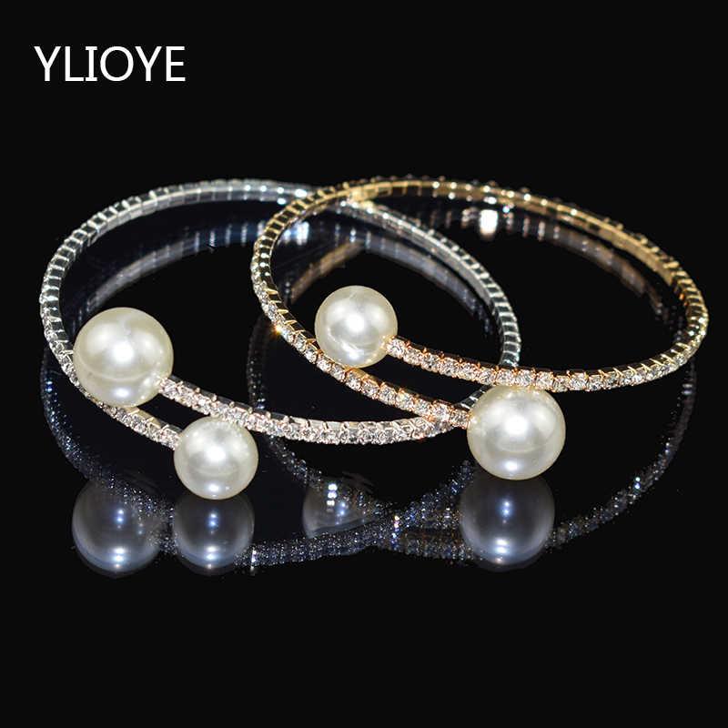 Ylioye Elegan Kristal Imitasi Mutiara Gelang untuk Wanita Emas/Perak Terbuka Manset Gelang Kalung Set Pulseras Mujer Perhiasan