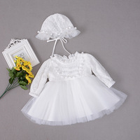 With Hat Vintage Baby Girl Baptism Dresses Set for Girls 1 Year Birthday Party Dress Autumn Winter Christening Gown Clothing