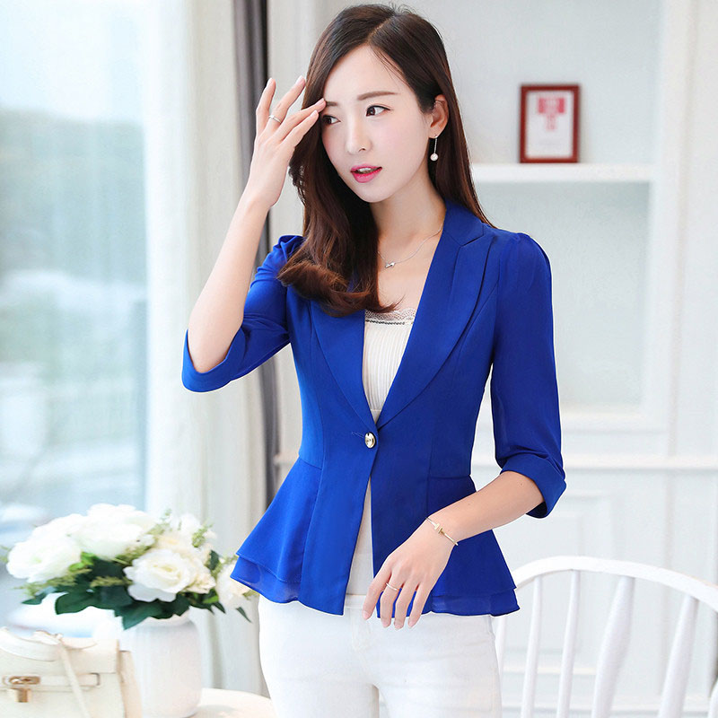 Elegant Female Summer Thin Suits Plus Size 3xl 4xl 4xl Women Office Blazer Blue Orange Slim Fit Breathable Blazer For Work Ma088 Latest Fashion Blazers Suits & Sets