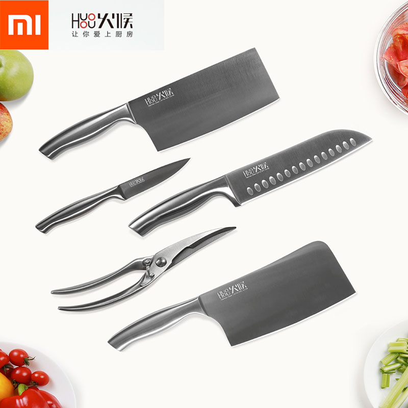 Xiaomi Original Knife Stainless Steel Blades Suit Kitchen High Color values, sticking knife chopping With Tool Apron Set 6 Piece 6 slicer 4 fruit knife parer kitchen tool set white black