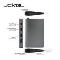 JCKEL Mini Displayport Video USB C Hub For MacBook Samsung S9/S8 Mini USB Type C HDMI 4K Hub Adapter PD Ethernet Lan Mic Jack