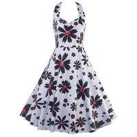 Abbille 2017 Audrey Hepburn White Dress S 2XL Plus Size Women Floral Print Daisy Halter Party