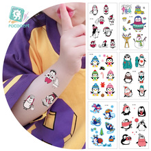 Rocooart Series Cartoon Stickers Christmas Cute Penguin Waterproof For Children Latest Design Animal Temporary Tattoo.