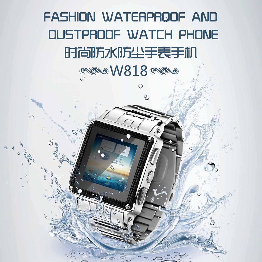 NEW Quad Band Stainless Steel IP67 Waterproof  Smart Watch GSM Stainless Steel Mobile Phone W818 Thick Band, Camera, Java, MP34 i5 gsm wrist watch phone w 1 8 resistive screen quad band single sim and fm black