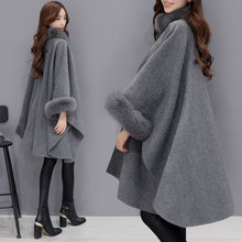 New European Style Cashmere Women coat  fur Collar Female Loose Casual Dress with Shawl Cape
