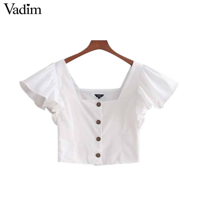 Vadim mujeres dulce volantes negro blanco cosecha top Camisas manga corta cuello cuadrado blusa mujer casual chic blusas DT1433