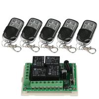 433Mhz Wireless Remote Control Switch DC12V 4CH Superheterodyne Relay Receiver Module with RF Transmitter 433 Mhz Remote Control