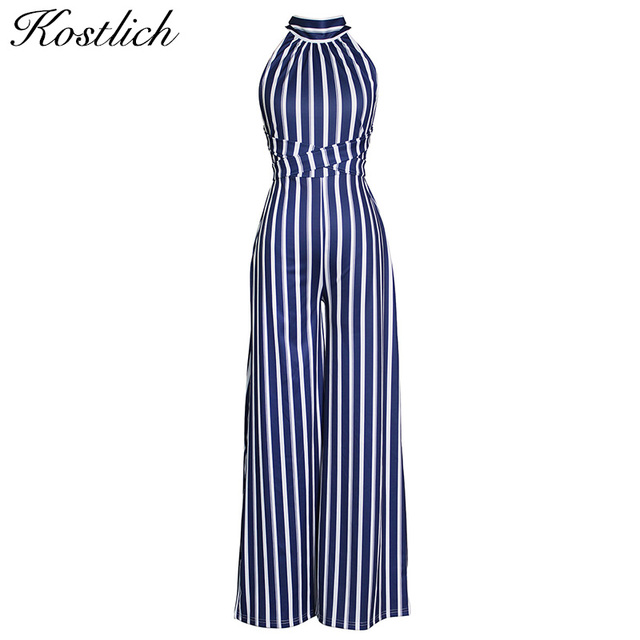 26bf3021fa6 Kostlich Vertical Striped Summer Jumpsuit Romper Halter Off Shoulder Backless  Sexy Women Rompers Wide Leg Loose Casual Overalls
