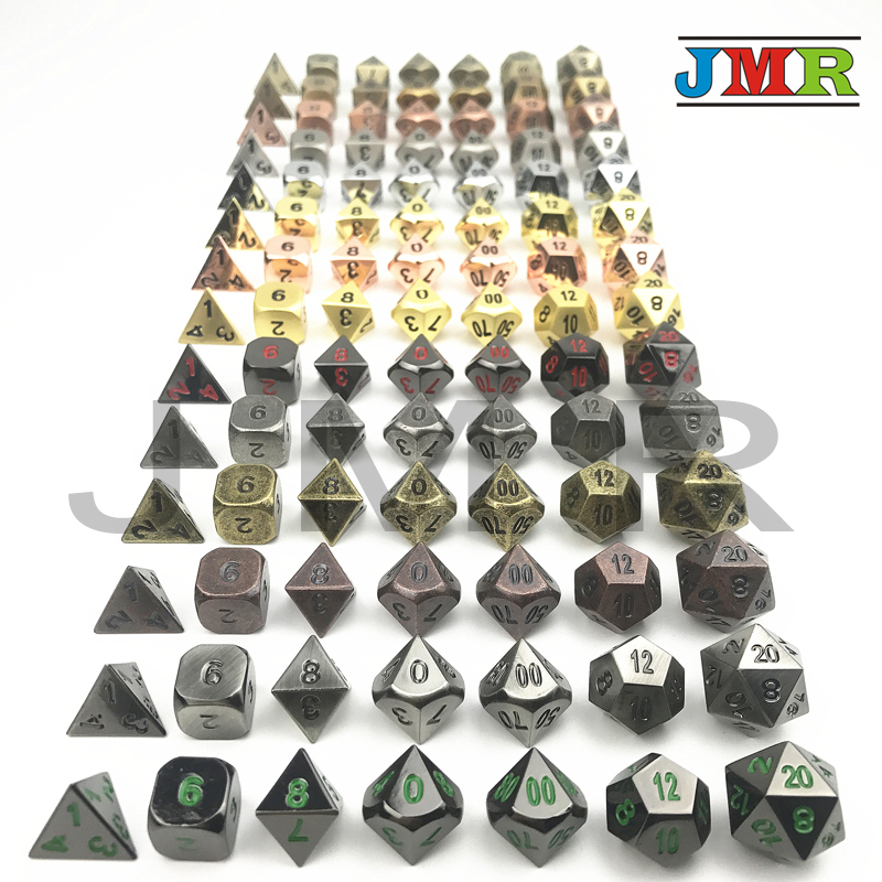 High Quality Metal Dice Juegos De Mesa Dados Rpg,Different Type Dice Set of D4-D20 Polyhedral Dice for Rpg DnDfor Party Favor цена 2017