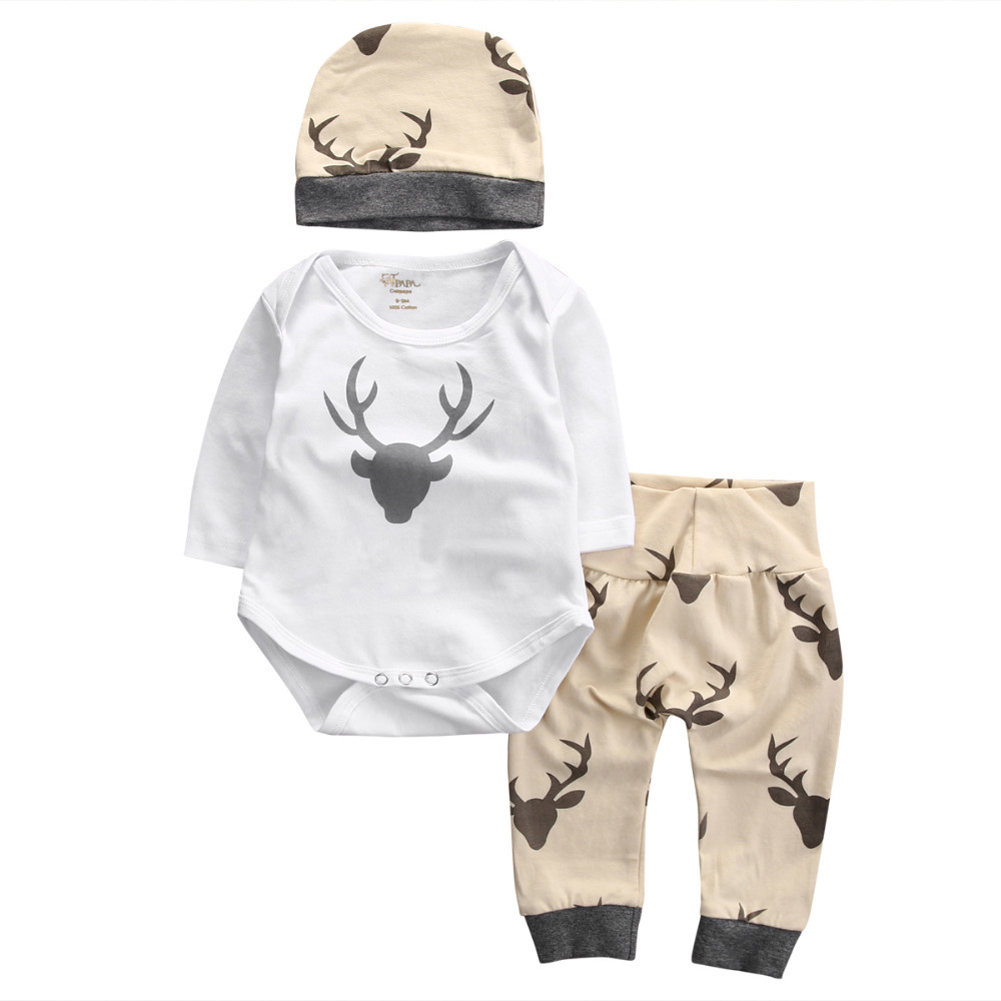Baby Clothes Set Deer Print Overall White Girl Boy Rompers Winter Warm Long Pants With Hat Newborn First Christmas Clothing