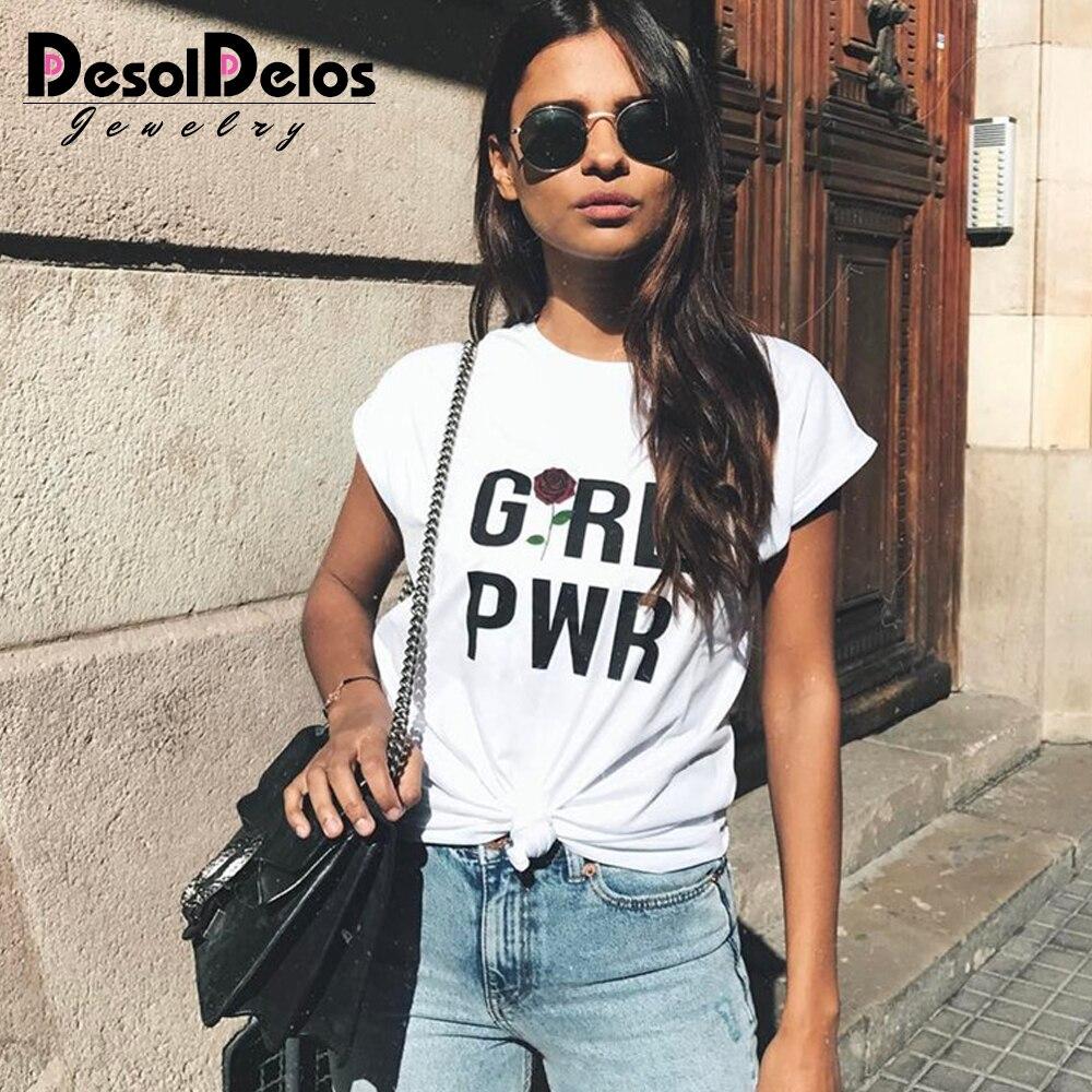 DesolDelos Summer Girl Power Rose Black Fanny T Shirt Women Letter White Cotton Ladies T Shirt Streetwear Flowers Tops Female in T Shirts from Women 39 s Clothing