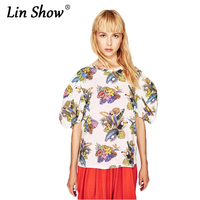 LINSHOW White Parrot Printed Womens Tshirt Puff Sleeve O Neck Loose Ladies Tops Beach Party Club