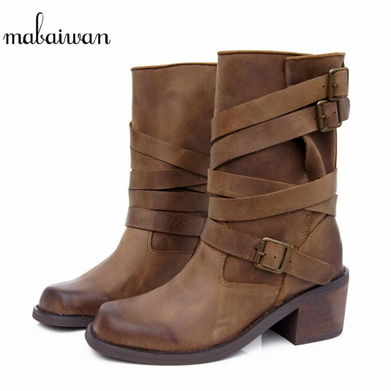 Mabaiwan Handmade Women Genuine Leather Boots Vintage Zapatos Mujer Buckles Motorcycle Boots Women Mid-calf Botas Shoes Woman mabaiwan handmade rivets military cowboy boots mid calf genuine leather women motorcycle boots vintage buckle straps shoes woman