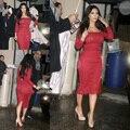 Free shipping kim kardashian red sheath long sleeve tea length lace celebrity dress