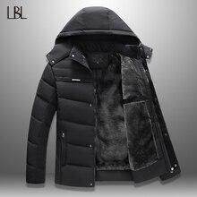 27c21b62 LBL de invierno a prueba de viento chaquetas de los hombres 2018 espesar  para hombre Parka con capucha chaqueta con capucha crem.