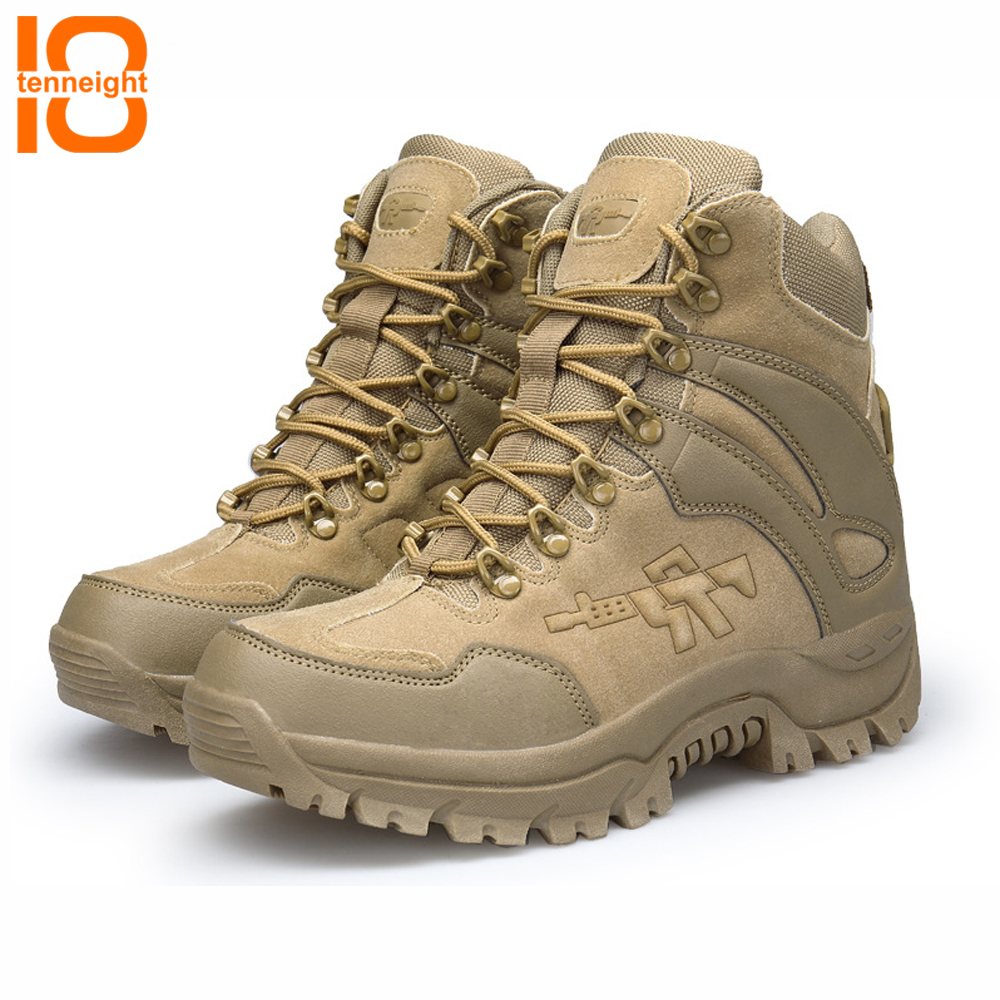 купить TENNEIGHT Winter/Autumn Men's Military Tactical Boots Special Force High Top Desert Combat Boots Outdoor Shoes Snow Hiking Boots онлайн