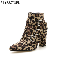 AIYKAZYSDL Women Leopard Snakeskin Print Ankle Boots Buckle Strap Gladiator Shoes Thick Block Chunky High Heel Strappy Bootie