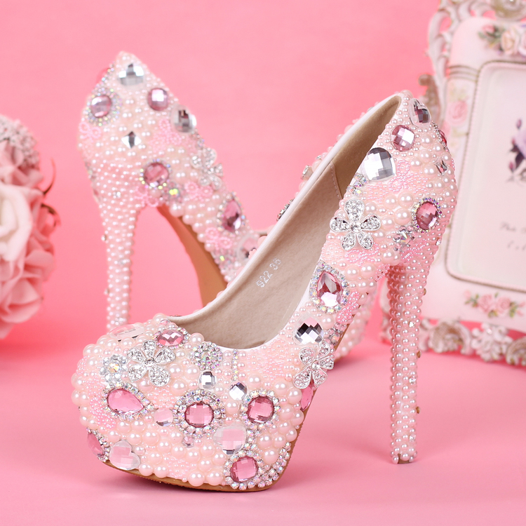 0fa1deaf739 shoes Pink pearls bridal high-heeled waterproof platform women s heels  princess shoes round crystal wedding birthday party gift