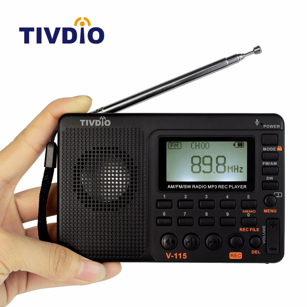 TIVDIO V-115 FM/AM/SW Radio Multiband Radio Receiver Bass Sound MP3 Player REC Recorder Portable Radio with Sleep Timer F9205A old version degen de1103 1 0 ssb pll fm stereo sw mw lw dual conversion digital world band radio receiver de 1103 free shipping