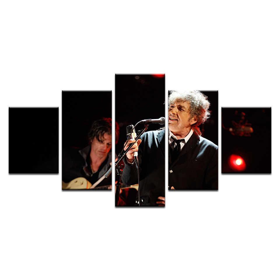Nội Thất hiện đại Trang Trí Art Trên Canvas Cho Phòng Khách 5 mảnh HD In Pop Ca Sĩ Bob Dylan Poster Lớn Tường vải