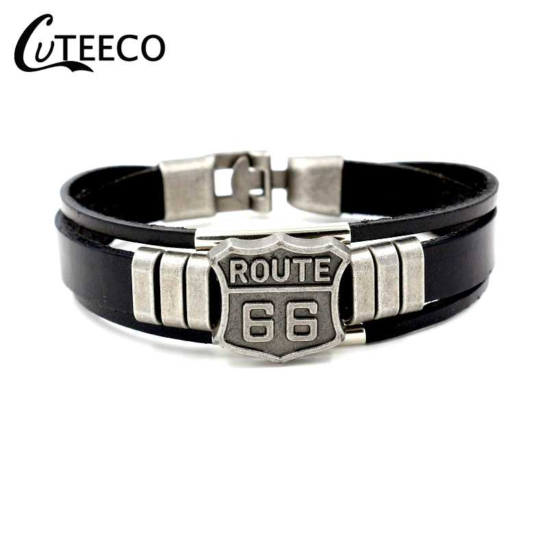 CUTEECO Vintage Punk Men Route 66 Sign Leather Bracelet Black Cuff Bracelets & Bangles Wristband Men Jewelry Accessories Gifts