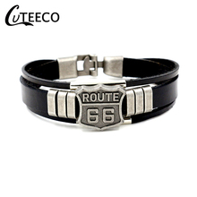 CUTEECO Vintage Punk Men Route 66 Sign Leather Bracelet Black Cuff Bracelets & Bangles Wristband Jewelry Accessories Gifts