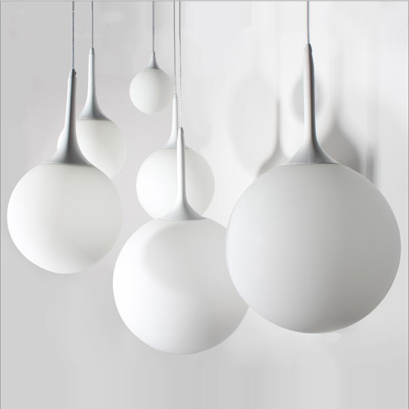 simple white frosted glass ball pendant. 25/30/35/40cm Modern Creative Simple Frosted White Glass Pendant Lights Lamp Round Ball Dining Room Light Living Lamp-in From L