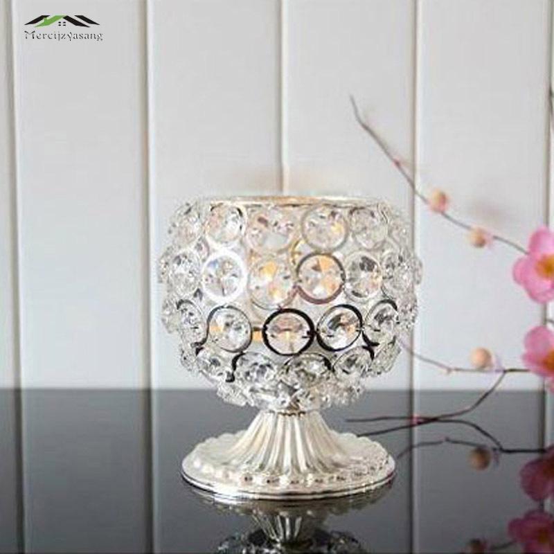 3ks / lot Nové kovové svícny s krystaly stojanový sloupek stříbrný Creative European Romantic pro svatební dekorace koule