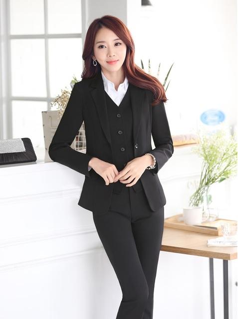2015 Outono Inverno Elegante Preto Mulheres de Negócio Ternos Com Coletes E Calças Uniforme Profissional Estilos Calças Definir Plus Size