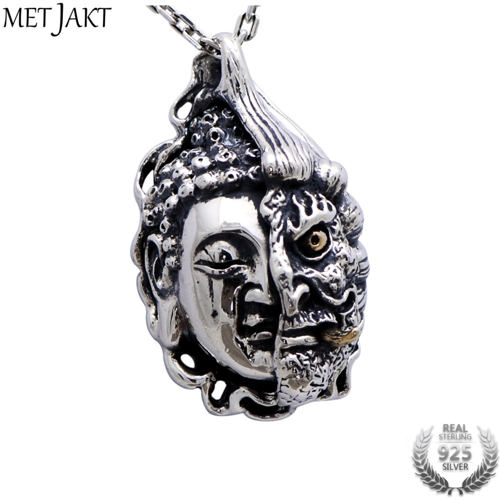 MetJakt Buddha and Devil Silver Pendant and 925 Sterling Silver Necklace Men's Punk Personality Jewelry metjakt punk buddhism 925 sterling silver peace pendant necklace and snake chain unisex exorcise evil spirits jewelry