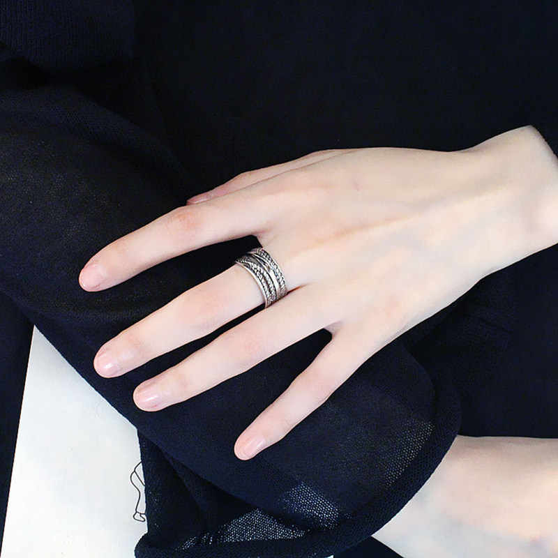 Round Rings For Men Black Gold Sliver Color Personality Retro Twine Ring Gift Opening