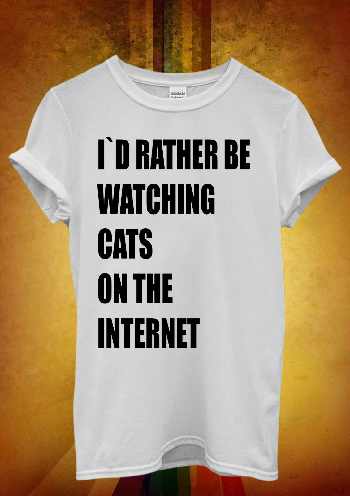 I`d Rather Be Watching Cats Internet Men Women Unisex T Shirt  Top Vest 877 New Shirts Funny Tops Tee