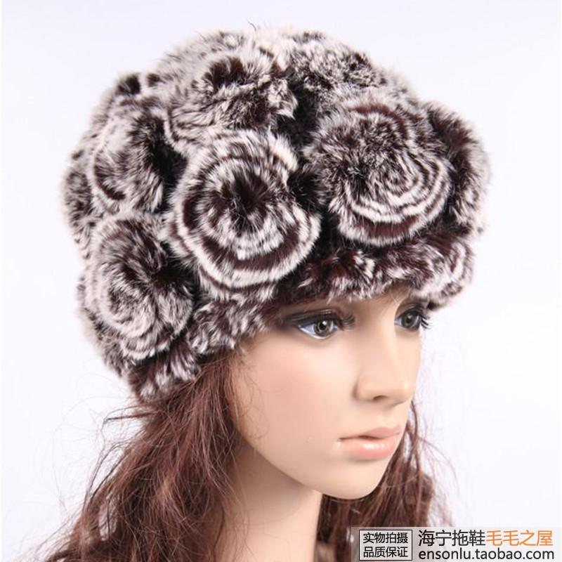 Free shipping Autumn and winter rex rabbit hat fur rose rex rabbit thermal wool hat