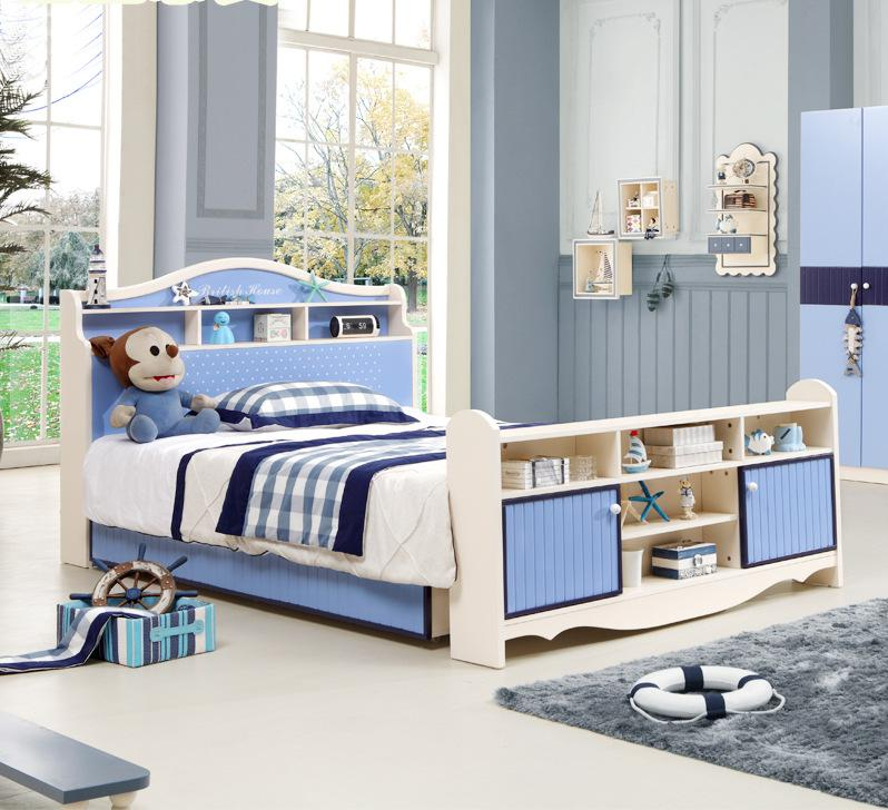 Children's Bed, Boys Single Bed, Teenage Prince Bed, 1.2/1.5 Meters, Children's Room, Furniture Bunk Bed