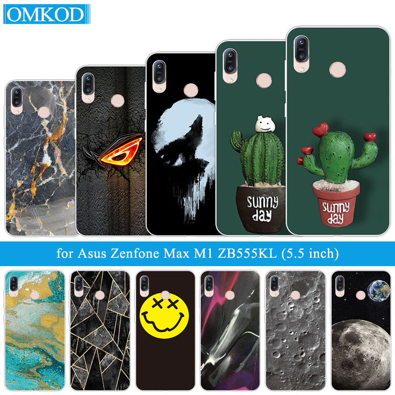 5.5 inch for Asus Zenfone Max M1 ZB555KL Phone Cactus Cover Back Full Protective Cases for ASUS ZB555KL Silicone Coque