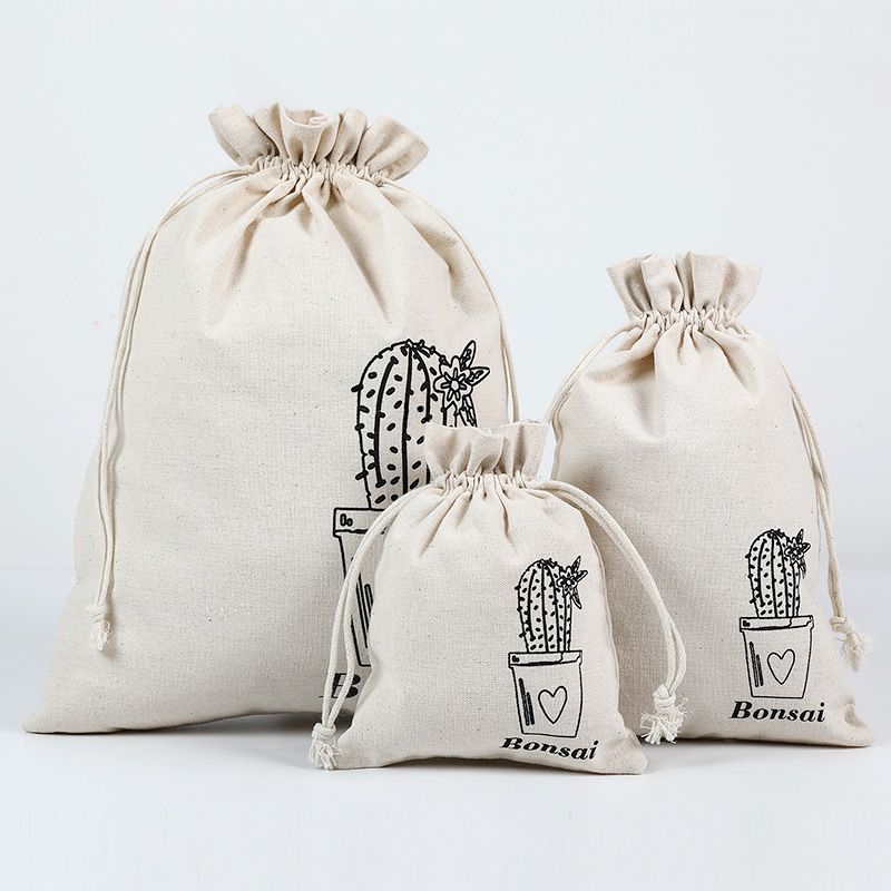 3pcs/Lot Natural Cotton Eco Jute Linen Drawstring Pouch Packaging Gift Bag Jewelry Big Christmas Bag