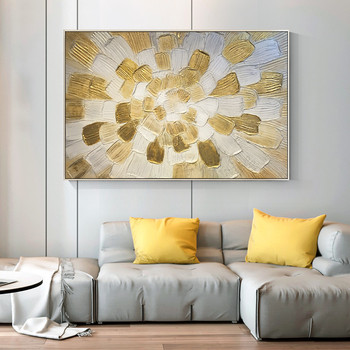 Abstract Gold White flower Canvas painting acrylic abstract painting texture quadros decoracion Wall Art Picture for living room