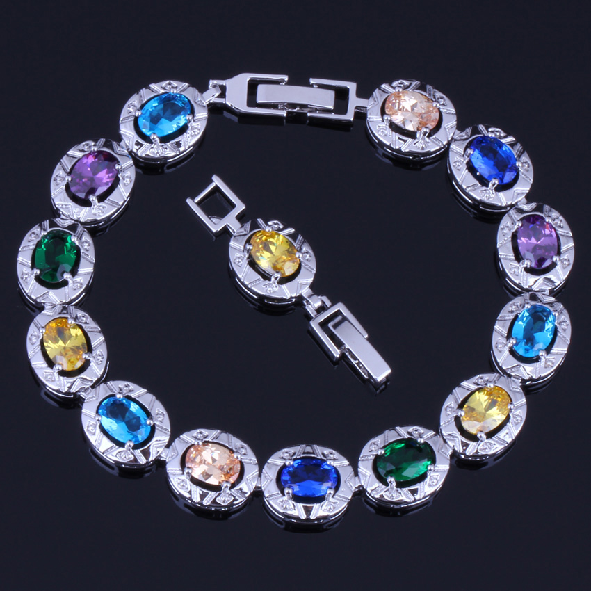 Fascinating Oval Multigem Multicolor Yellow Cubic Zirconia 925 Sterling Silver Link Chain Bracelet 18cm 20cm For Women V0222
