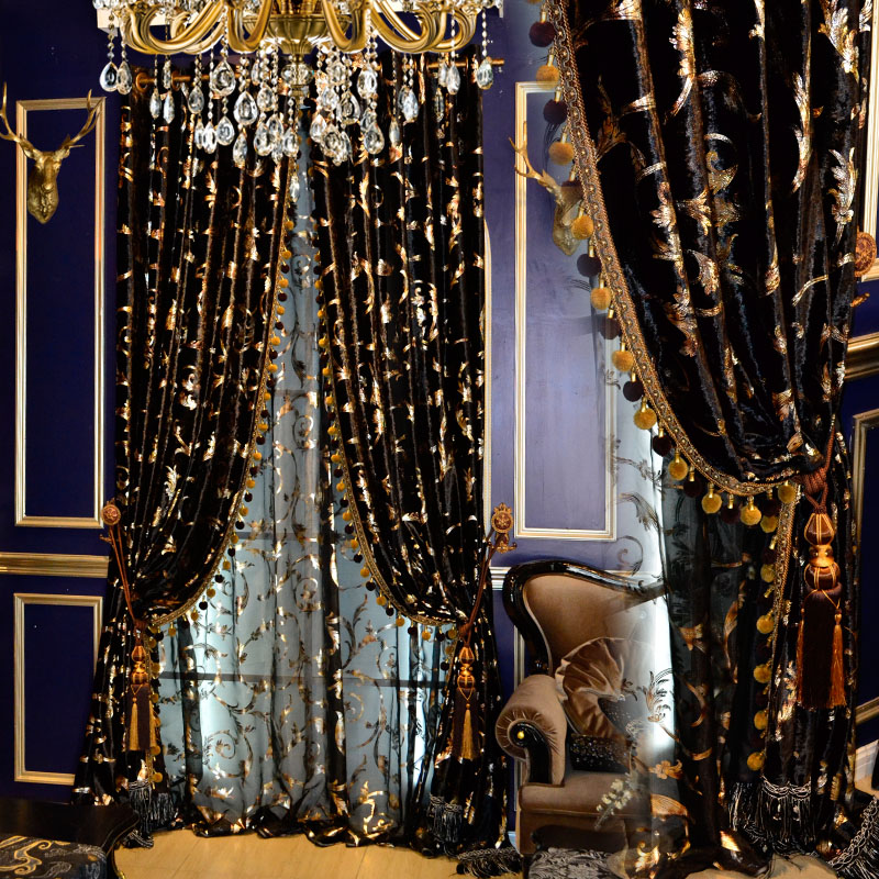 Custom Curtain Black Gold European American High Quality