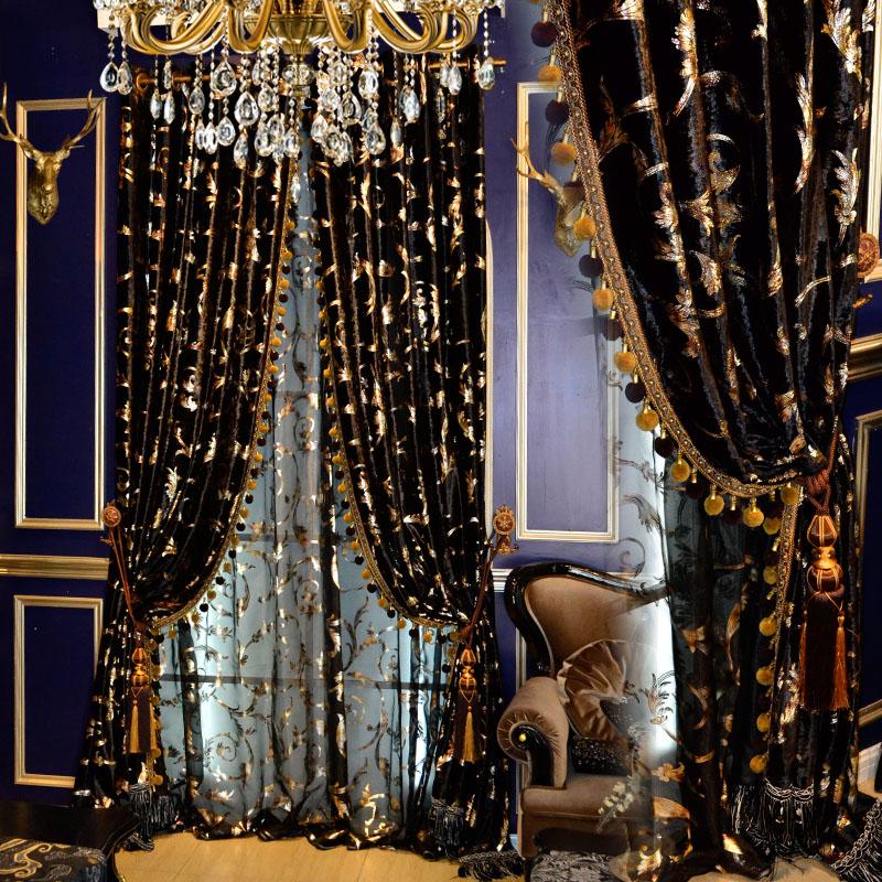 Custom curtain black gold European American high quality